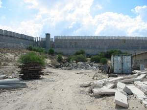 The perimeter wall of a Jewish settlement in the Gaza Strip, 2002