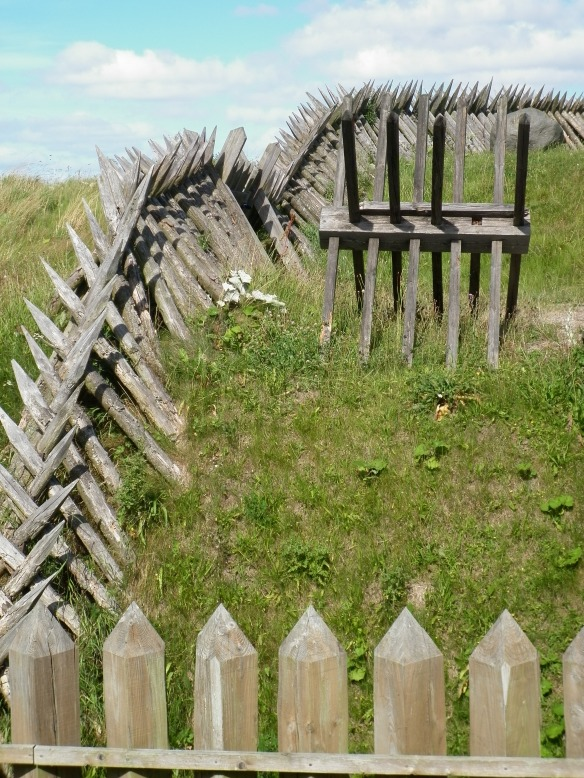 Part of the reconstructed stockade at the 1864 historical centre.