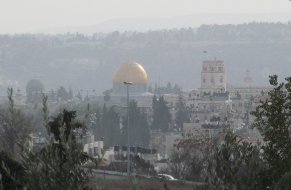 A view of the Old City of Jerusalem from the nearby hills
