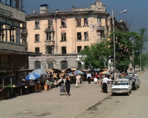 Street scene in Grozny, Chechnya June 2000.