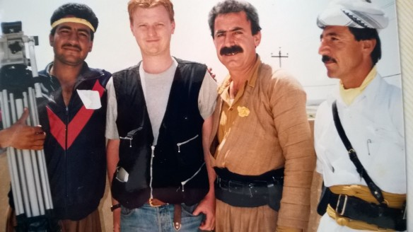 The author with people attending a Kurdish political rally, Northern Iraq, 1992