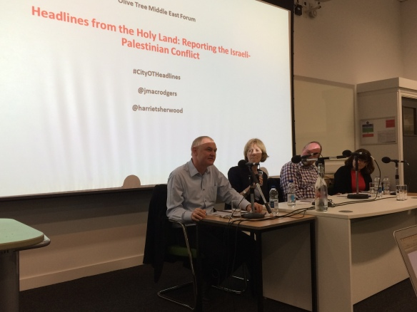 Speaking at the launch of 'Headlines from the Holy Land', City University London, 15th October 2015. On the panel: Professor Rosemary Hollis (Chair); Sir Vincent Fean; Harriet Sherwood.